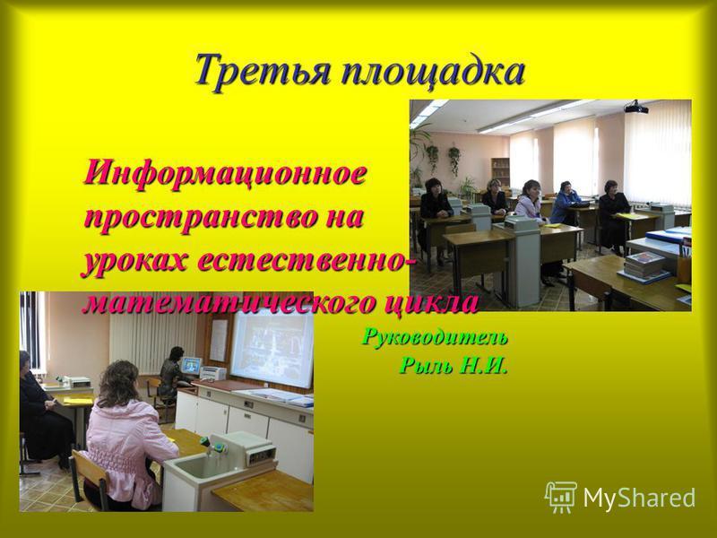 Третья площадка Информационное пространство на уроках естественно- математического цикла Руководитель Рыль Н.И.