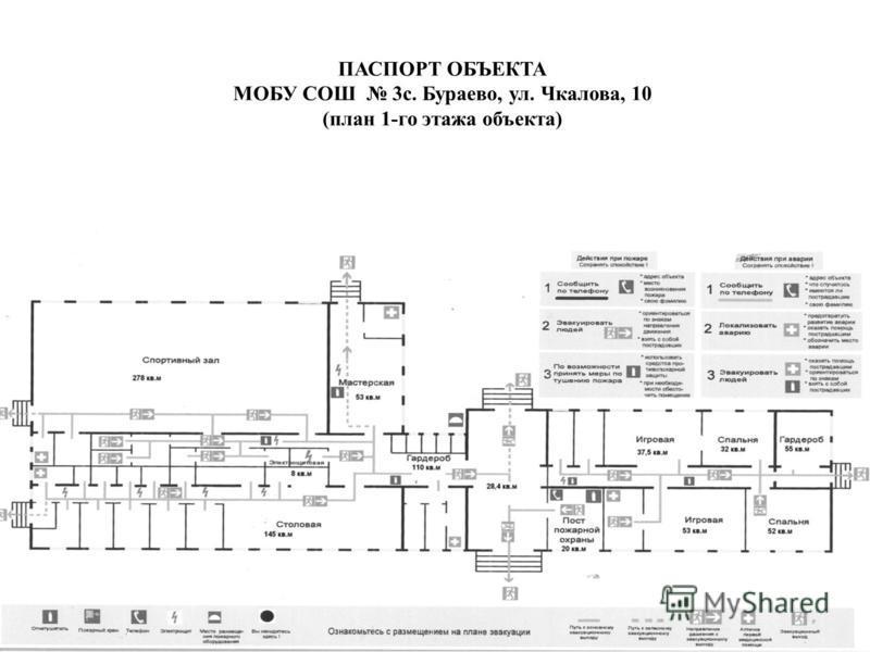 ПАСПОРТ ОБЪЕКТА МОБУ СОШ 3 с. Бураево, ул. Чкалова, 10 (план 1-го этажа объекта)