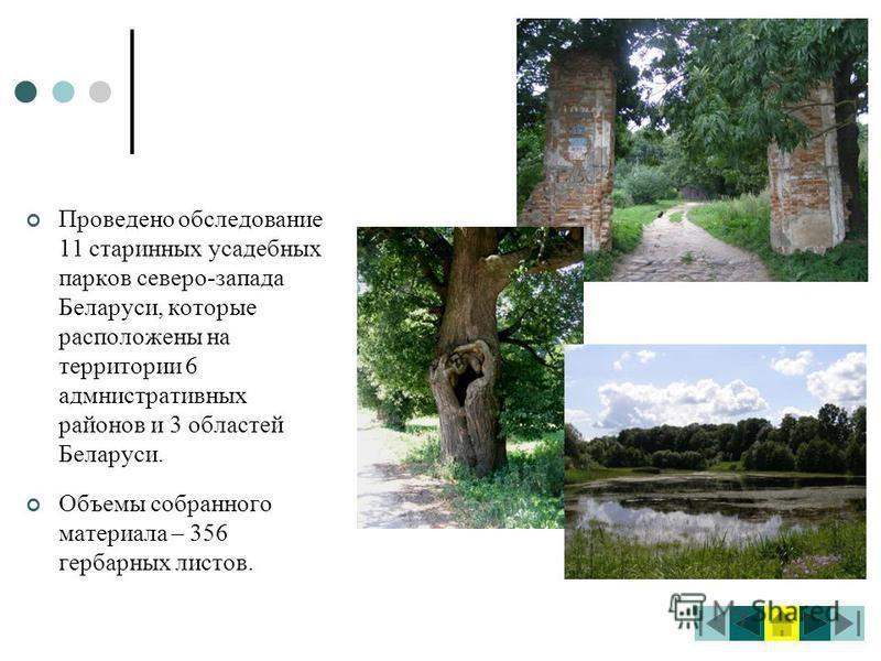 Проведено обследование 11 старинных усадебных парков северо-запада Беларуси, которые расположены на территории 6 административных районов и 3 областей Беларуси. Объемы собранного материала – 356 гербарных листов.
