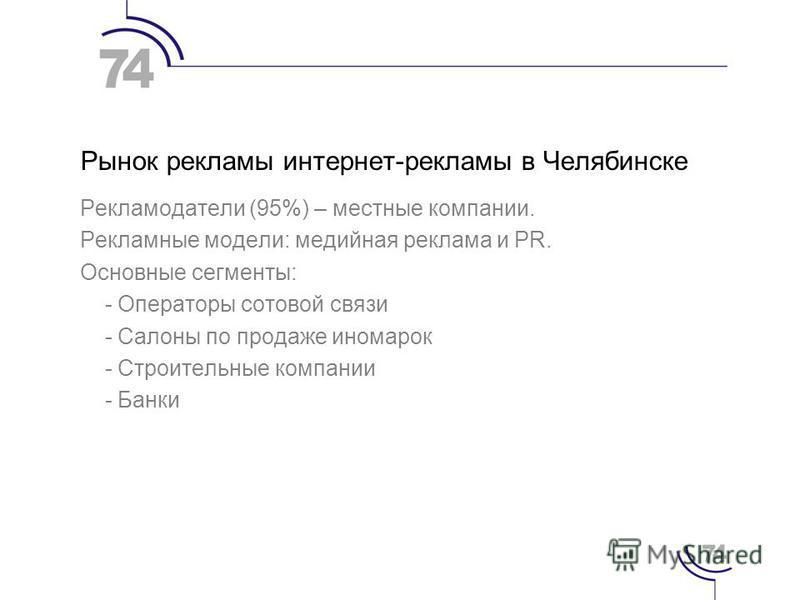 Рынок рекламы интернет-рекламы в Челябинске Рекламодатели (95%) – местные компании. Рекламные модели: медийная реклама и PR. Основные сегменты: - Операторы сотовой связи - Салоны по продаже иномарок - Строительные компании - Банки