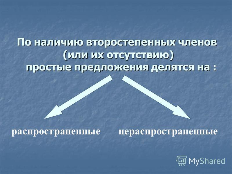 По наличию второстепенных членов (или их отсутствию) простые предложения делятся на : распространенные нераспространенные