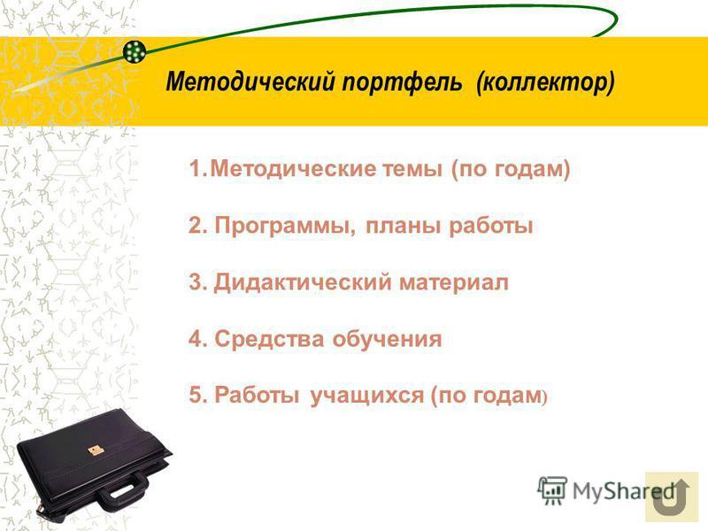 Методический портфель (коллектор) 1. Методические темы (по годам) 2. Программы, планы работы 3. Дидактический материал 4. Средства обучения 5. Работы учащихся (по годам )