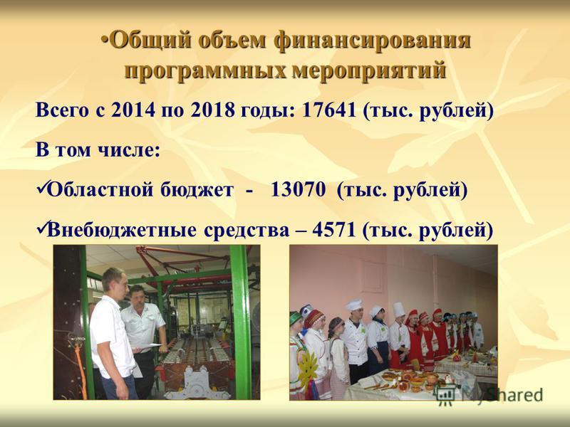 Общий объем финансирования программных мероприятий Общий объем финансирования программных мероприятий Всего с 2014 по 2018 годы: 17641 (тыс. рублей) В том числе: Областной бюджет - 13070 (тыс. рублей) Внебюджетные средства – 4571 (тыс. рублей)