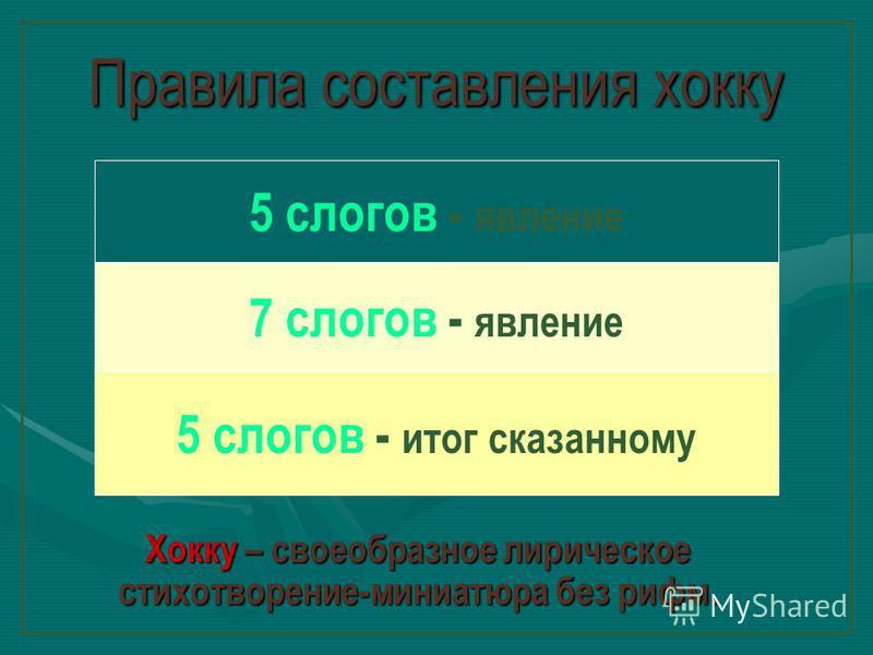 Правила составления хокку Хокку – своеобразное лирическое стихотворение-миниатюра без рифм. 5 слогов - явление 7 слогов - явление 5 слогов - итог сказанному о м ш н е е з а д а н и е У ч е б н и к : с т р. 1 2 2 - 1 3 1. П р о ч и т а т ь т е к с т и