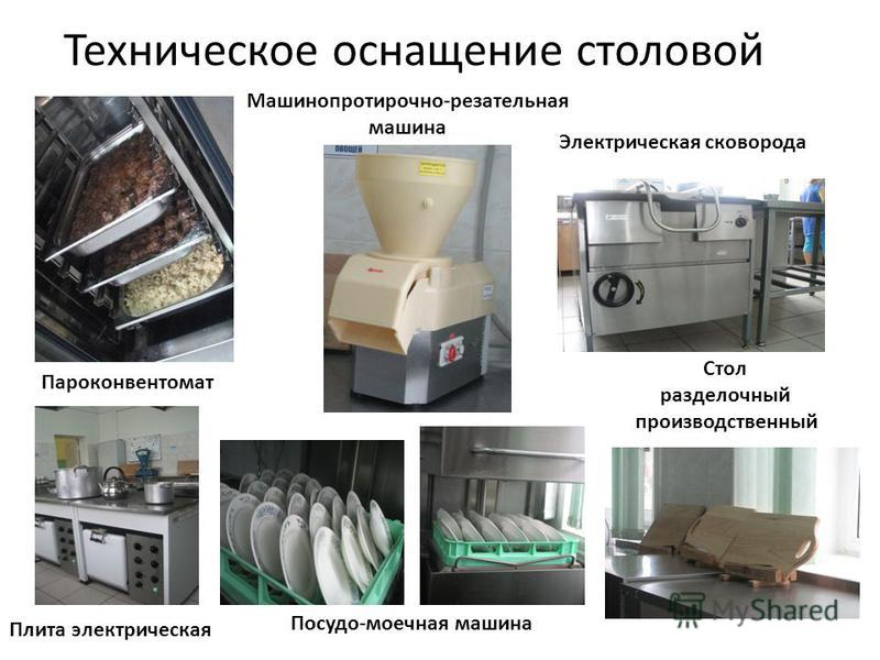 Техническое оснащение столовой Пароконвентомат Машинопротирочно-резательная машина Электрическая сковорода Плита электрическая Посудо-моечная машина Стол разделочный производственный