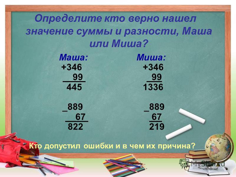 Определите кто верно нашел значение суммы и разности, Маша или Миша? Маша: Миша: +346 99 99 445 1336 _889 _889 67 67 822 219 Кто допустил ошибки и в чем их причина?