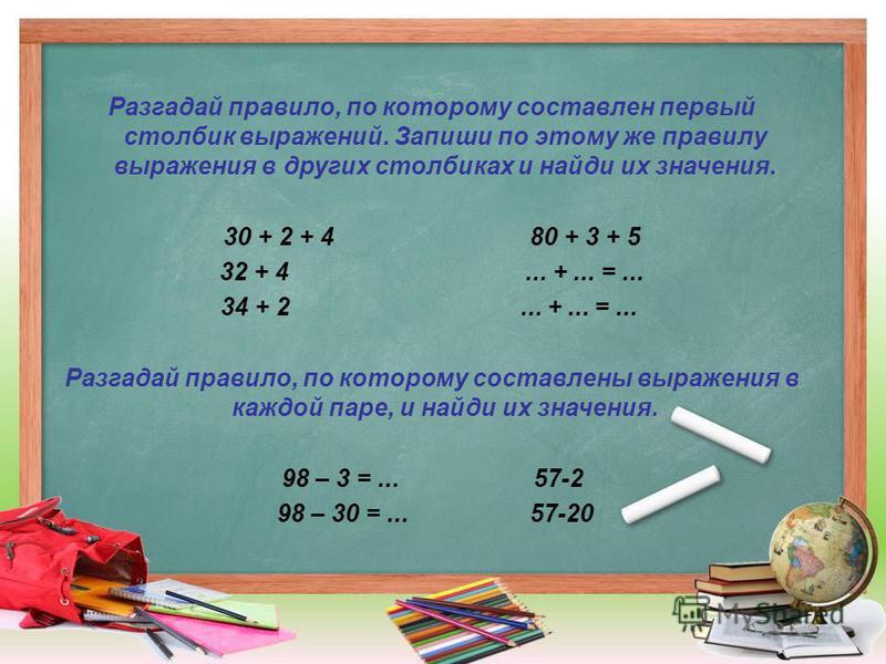 Разгадай правило, по которому составлен первый столбик выражений. Запиши по этому же правилу выражения в других столбиках и найди их значения. 30 + 2 + 4 80 + 3 + 5 32 + 4... +... =... 34 + 2... +... =... Разгадай правило, по которому составлены выра