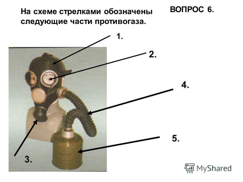 На схеме стрелками обозначены следующие части противогаза. 1. 2. 3. 4. 5. ВОПРОС 6.