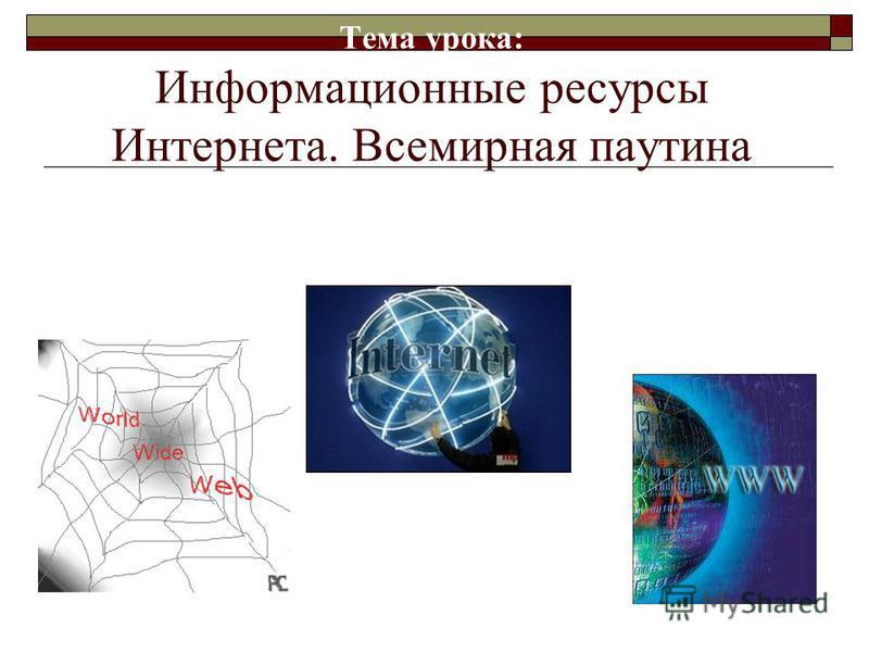 Тема урока: Информационные ресурсы Интернета. Всемирная паутина