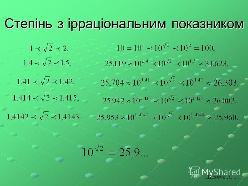 Степінь з ірраціональним показником … … Шевчук А. Г.