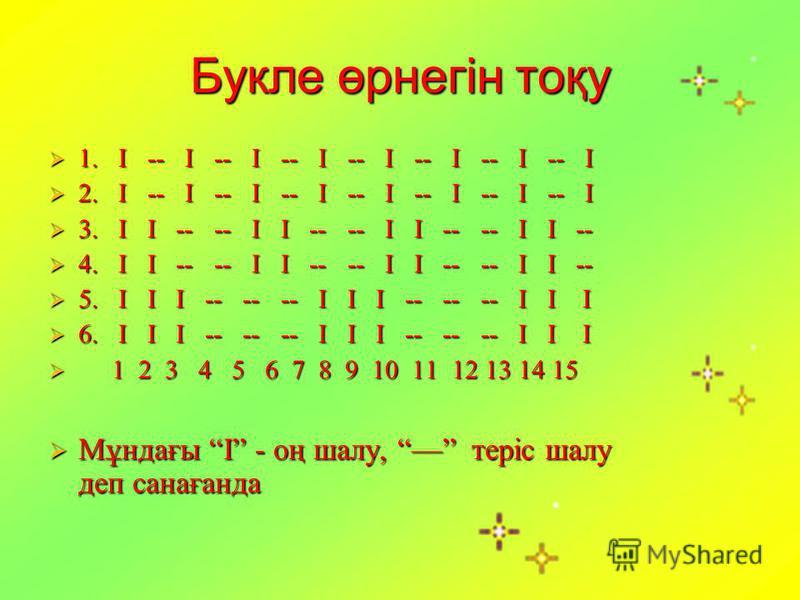 Букле өрнегін тоқу 1. І -- І -- І -- І -- І -- І -- І -- І 1. І -- І -- І -- І -- І -- І -- І -- І 2. І -- І -- І -- І -- І -- І -- І -- І 2. І -- І -- І -- І -- І -- І -- І -- І 3. І І -- -- І І -- -- І І -- -- І І -- 3. І І -- -- І І -- -- І І -- -