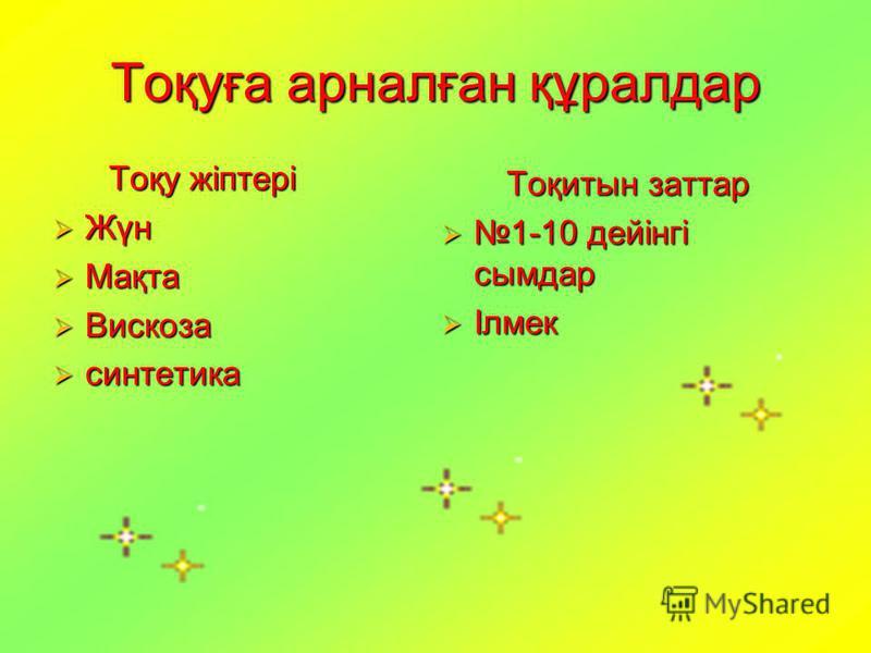 Тоқуға арналған құралдар Тоқу жіптері Тоқу жіптері Жүн Жүн Мақта Мақта Вискоза Вискоза синтетика синтетика Тоқитын заттар Тоқитын заттар 1-10 дейінгі сымдар 1-10 дейінгі сымдар Ілмек Ілмек