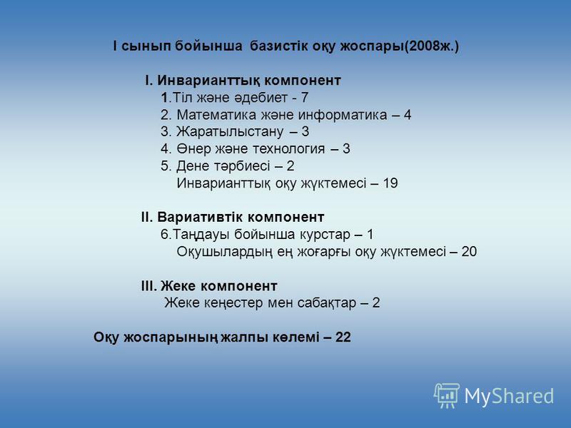 І сынып бойынша базистiк оқу жоспары(2008ж.) I. Инварианттық компонент 1.Тiл және әдебиет - 7 2. Математика және информатика – 4 3. Жаратылыстану – 3 4. Өнер және технология – 3 5. Дене тәрбиесi – 2 Инварианттық оқу жүктемесi – 19 II. Вариативтiк ком