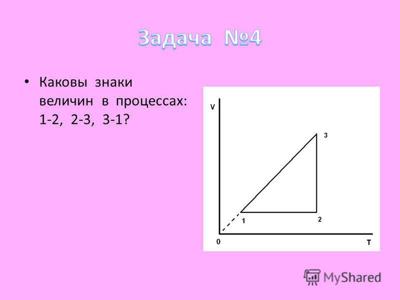Каковы знаки величин в процессах: 1-2, 2-3, 3-1?