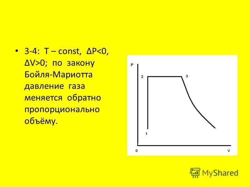 3-4: T – const, P 0; по закону Бойля-Мариотта давление газа меняется обратно пропорционально объёму.