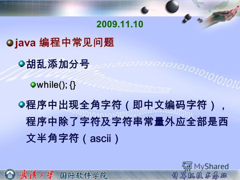 2009.11.10 java while(); {} ascii