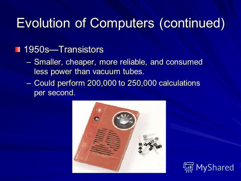 Evolution of Computers (continued) 1950sTransistors –Smaller, cheaper, more reliable, and consumed less power than vacuum tubes. –Could perform 200,000 to 250,000 calculations per second.