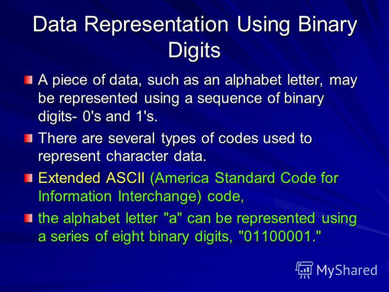 Data Representation Using Binary Digits A piece of data, such as an alphabet letter, may be represented using a sequence of binary digits- 0's and 1's. There are several types of codes used to represent character data. Extended ASCII (America Standar