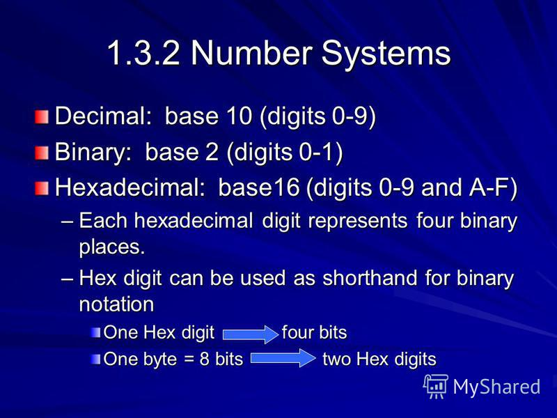 1.3.2 Number Systems Decimal: base 10 (digits 0-9) Binary: base 2 (digits 0-1) Hexadecimal: base16 (digits 0-9 and A-F) –Each hexadecimal digit represents four binary places. –Hex digit can be used as shorthand for binary notation One Hex digit four