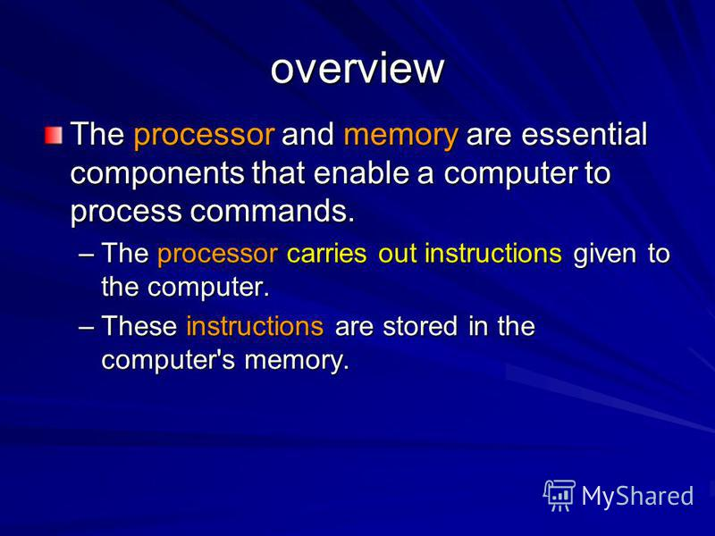 overview The processor and memory are essential components that enable a computer to process commands. –The processor carries out instructions given to the computer. –These instructions are stored in the computer's memory.