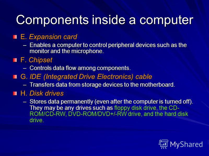 Components inside a computer E. Expansion card –Enables a computer to control peripheral devices such as the monitor and the microphone. F. Chipset –Controls data flow among components. G. IDE (Integrated Drive Electronics) cable –Transfers data from