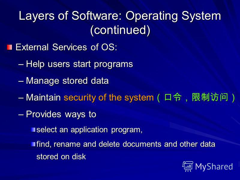 Layers of Software: Operating System (continued) External Services of OS: –Help users start programs –Manage stored data –Maintain security of the system –Maintain security of the system –Provides ways to select an application program, find, rename a