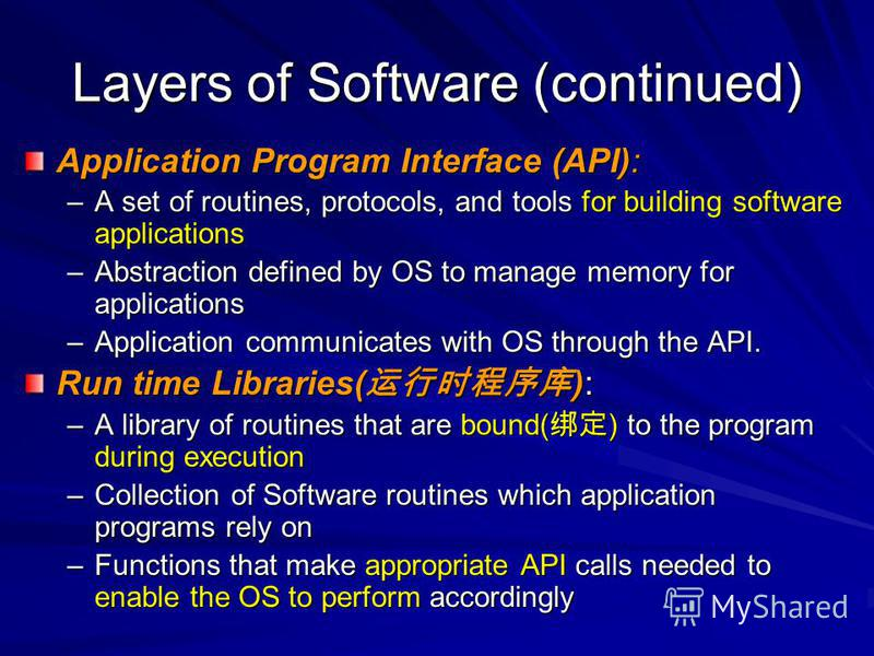 Layers of Software (continued) Application Program Interface (API): –A set of routines, protocols, and tools for building software applications –Abstraction defined by OS to manage memory for applications –Application communicates with OS through the