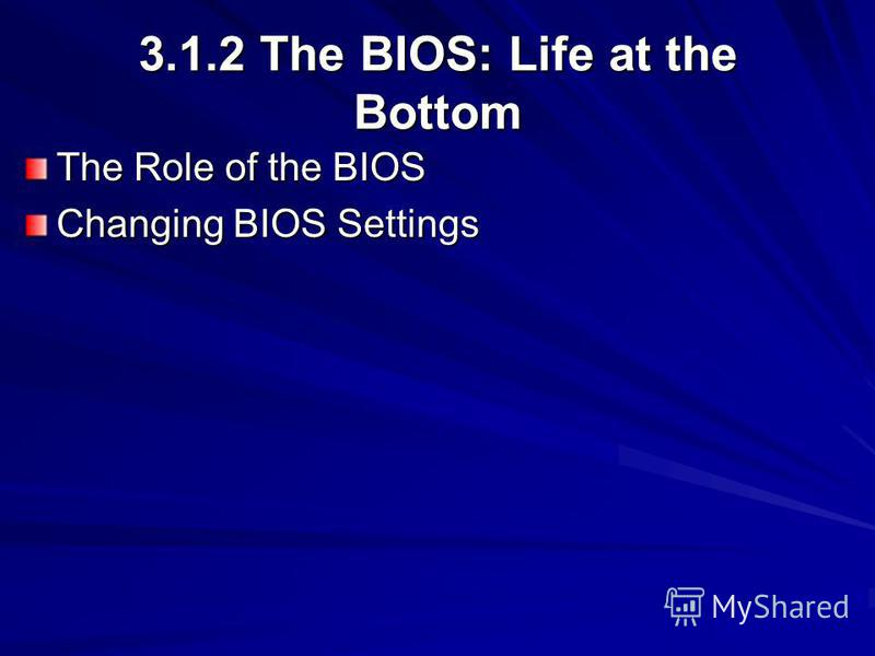 3.1.2 The BIOS: Life at the Bottom The Role of the BIOS Changing BIOS Settings