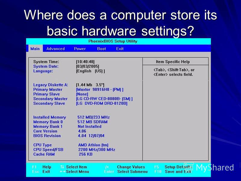 Where does a computer store its basic hardware settings?