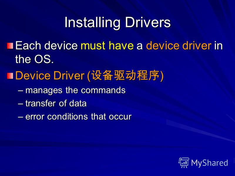 Installing Drivers Each device must have a device driver in the OS. Device Driver ( ) –manages the commands –transfer of data –error conditions that occur