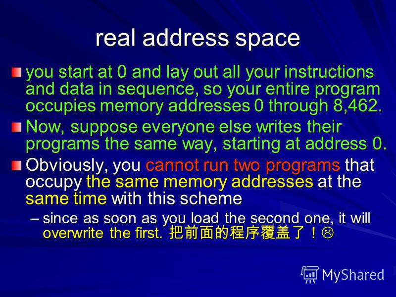 real address space you start at 0 and lay out all your instructions and data in sequence, so your entire program occupies memory addresses 0 through 8,462. Now, suppose everyone else writes their programs the same way, starting at address 0. Obviousl