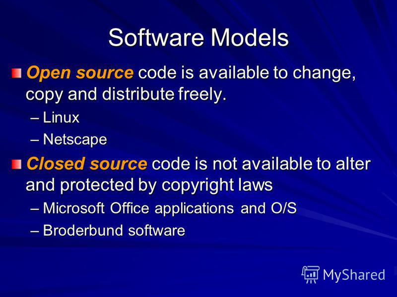Software Models Open source code is available to change, copy and distribute freely. –Linux –Netscape Closed source code is not available to alter and protected by copyright laws –Microsoft Office applications and O/S –Broderbund software