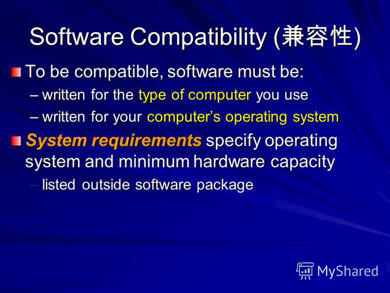 Software Compatibility ( ) To be compatible, software must be: –written for the type of computer you use –written for your computers operating system System requirements specify operating system and minimum hardware capacity –listed outside software