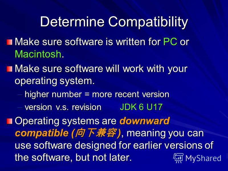 Determine Compatibility Make sure software is written for PC or Macintosh. Make sure software will work with your operating system. –higher number = more recent version –version v.s. revision JDK 6 U17 Operating systems are downward compatible ( ), m