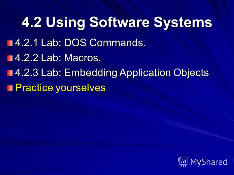 4.2 Using Software Systems 4.2.1 Lab: DOS Commands. 4.2.2 Lab: Macros. 4.2.3 Lab: Embedding Application Objects Practice yourselves