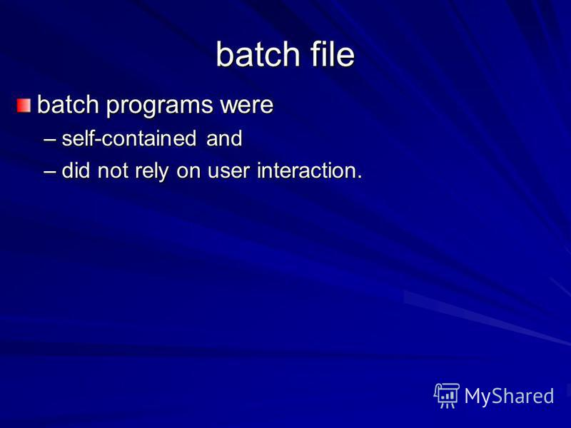 batch file batch programs were –self-contained and –did not rely on user interaction.