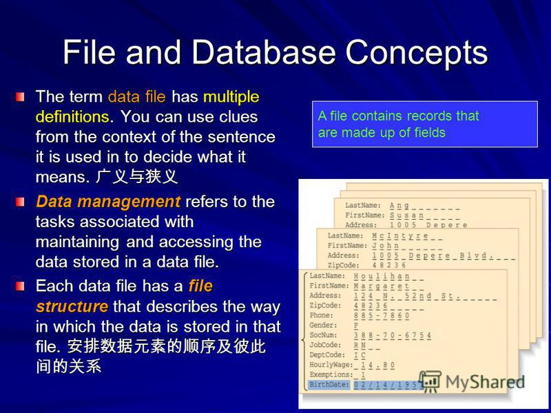 File and Database Concepts The term data file has multiple definitions. You can use clues from the context of the sentence it is used in to decide what it means. The term data file has multiple definitions. You can use clues from the context of the s