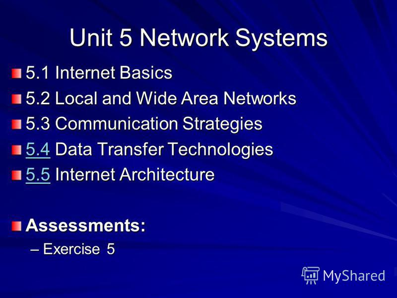 Unit 5 Network Systems 5.1 Internet Basics 5.2 Local and Wide Area Networks 5.3 Communication Strategies 5.45.4 Data Transfer Technologies 5.4 5.55.5 Internet Architecture 5.5Assessments: –Exercise 5