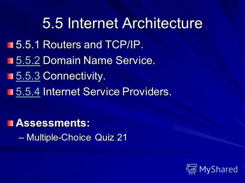 5.5 Internet Architecture 5.5.1 Routers and TCP/IP. 5.5.25.5.2 Domain Name Service. 5.5.2 5.5.35.5.3 Connectivity. 5.5.3 5.5.45.5.4 Internet Service Providers. 5.5.4Assessments: –Multiple-Choice Quiz 21