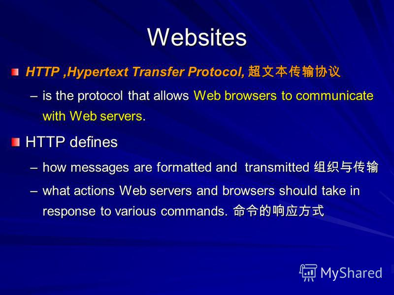 Websites HTTP,Hypertext Transfer Protocol, HTTP,Hypertext Transfer Protocol, –is the protocol that allows Web browsers to communicate with Web servers. HTTP defines –how messages are formatted and transmitted –how messages are formatted and transmitt
