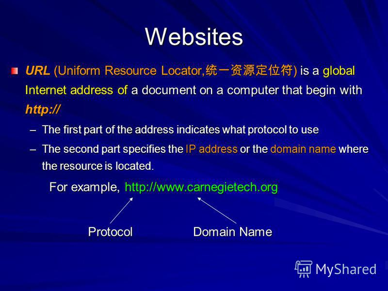Websites URL (Uniform Resource Locator, ) is a global Internet address of a document on a computer that begin with http:// –The first part of the address indicates what protocol to use –The second part specifies the IP address or the domain name wher