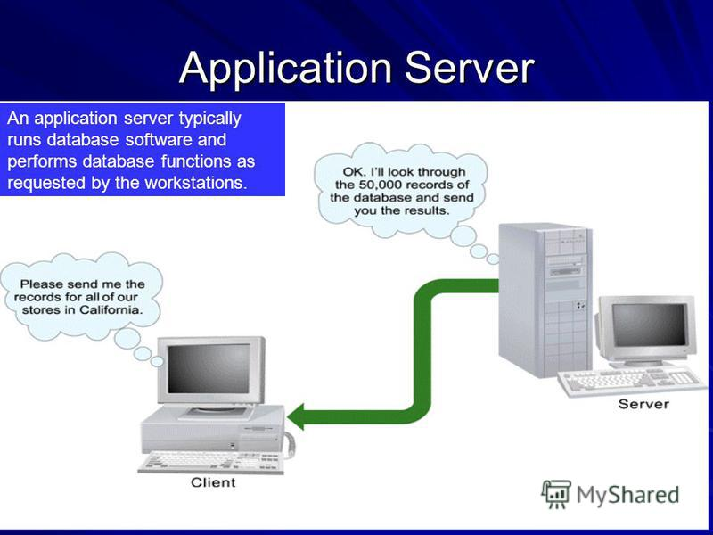 Application Server An application server typically runs database software and performs database functions as requested by the workstations.