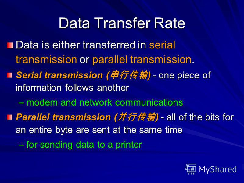 Data Transfer Rate Data is either transferred in serial transmission or parallel transmission. Serial transmission ( ) - one piece of information follows another –modem and network communications Parallel transmission ( ) - all of the bits for an ent
