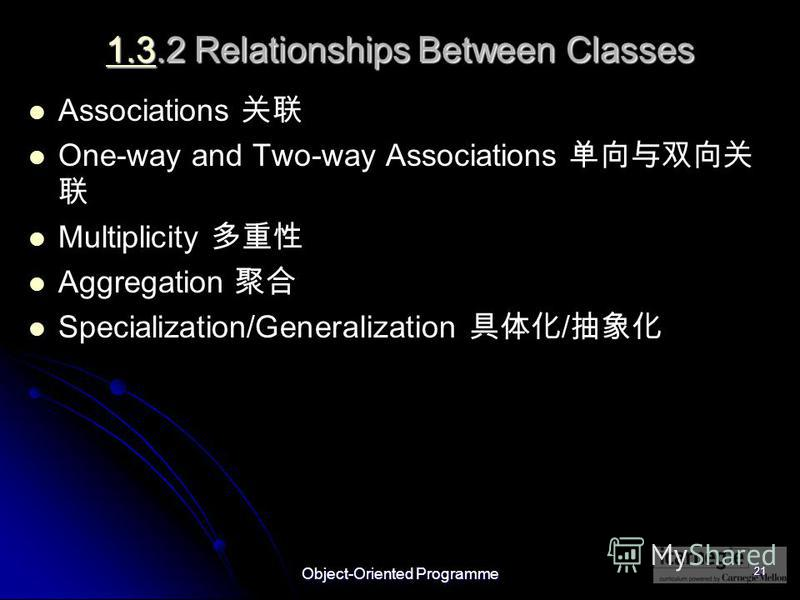 Object-Oriented Programme 21 1.31.3.2 Relationships Between Classes 1.3 Associations One-way and Two-way Associations Multiplicity Aggregation Specialization/Generalization /