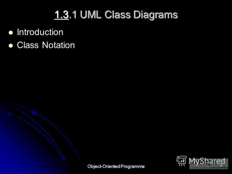 Object-Oriented Programme 4 1.31.3.1 UML Class Diagrams 1.3 Introduction Class Notation