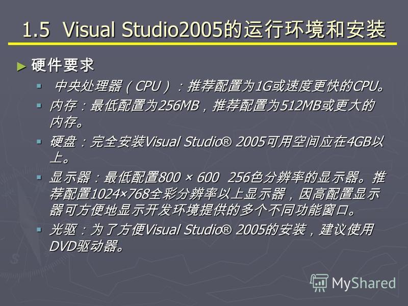1.5 Visual Studio2005 1.5 Visual Studio2005 CPU 1G CPU CPU 1G CPU 256MB 512MB 256MB 512MB Visual Studio ® 2005 4GB Visual Studio ® 2005 4GB 800 × 600 256 1024×768 800 × 600 256 1024×768 Visual Studio ® 2005 DVD Visual Studio ® 2005 DVD