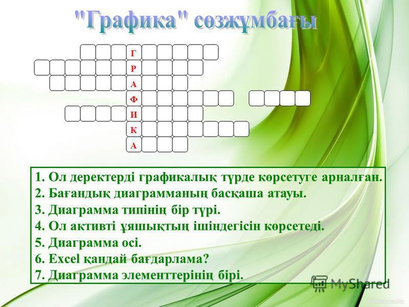Г Р А Ф И К А 1. Ол деректерді графикалық түрде көрсетуге арналған. 2. Бағандық диаграмманың басқаша атауы. 3. Диаграмма типінің бір түрі. 4. Ол активті ұяшықтың ішіндегісін көрсетеді. 5. Диаграмма осі. 6. Excel қандай бағдарлама? 7. Диаграмма элемен