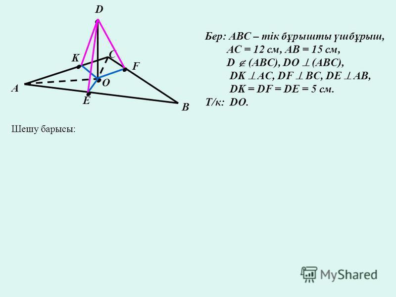 A B C D O K E F Бер: АВС – тік бұрышты үшбұрыш, АС = 12 см, АВ = 15 см, D (ABC), DO (ABC), DK AC, DF BC, DE AB, DK = DF = DE = 5 см. Т/к: DO. Шешу барысы: