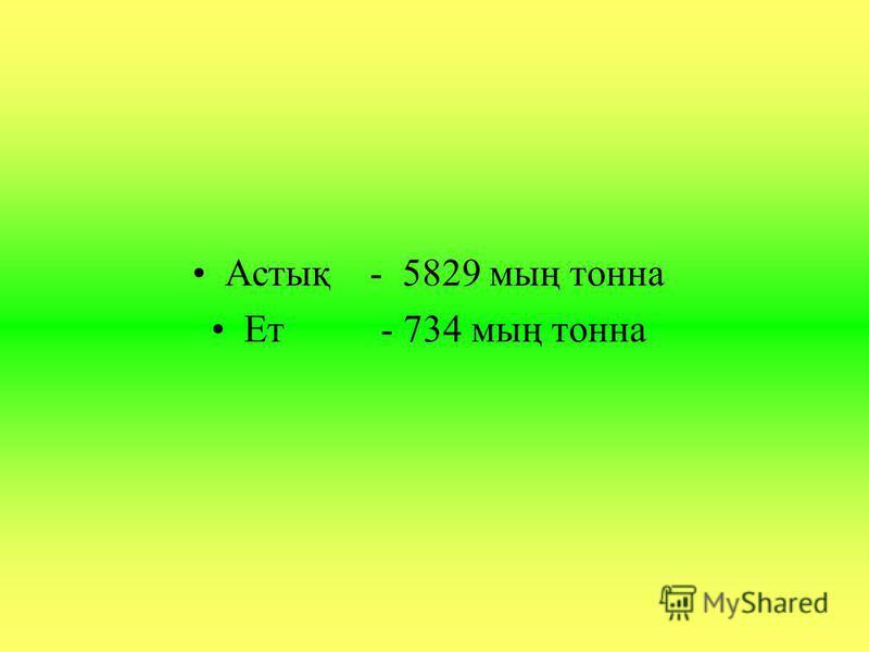 Астық - 5829 мың тонна Ет - 734 мың тонна