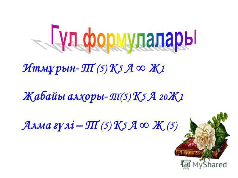Итм ұ рын- Т (5) К 5 А Ж 1 Жабайы алхоры- Т(5) К 5 А 20 Ж 1 Алма г ү лі – Т (5) К 5 А Ж (5)